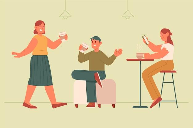 Handgetekende vlakke afbeelding van mensen met warme dranken