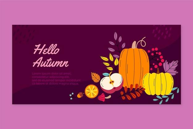 Handgetekende vlakke horizontale herfstbanner