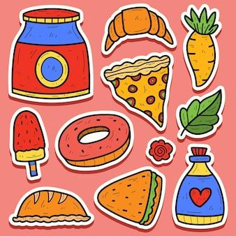 Handgetekende voedsel doodle cartoon sticker ontwerp