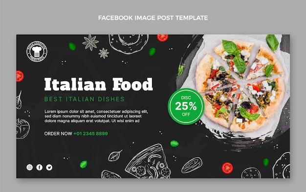 Handgetekende voedsel facebook-post