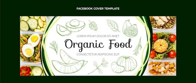 Handgetekende voedsel facebook voorbladsjabloon