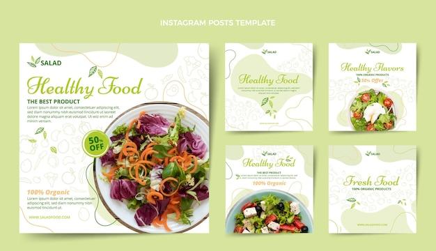Handgetekende voedsel instagram postsjabloon