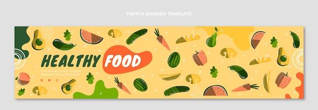 Handgetekende voedsel twitch banner