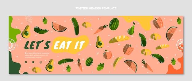 Handgetekende voedsel twitter header