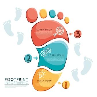 Handgetekende voetafdruk infographics sjabloon