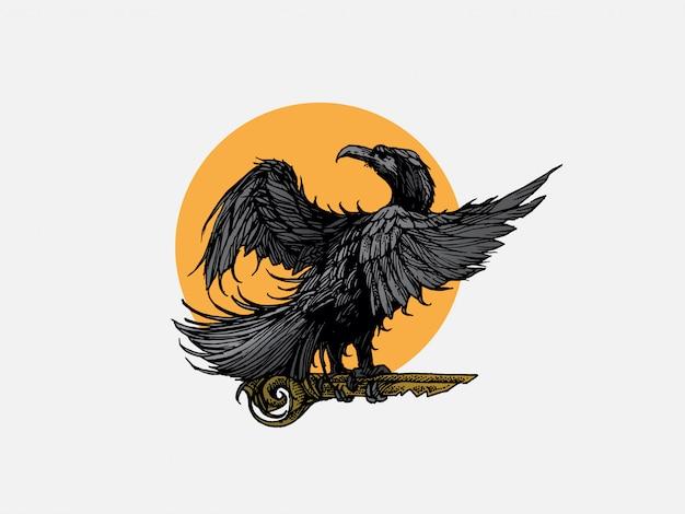 Handgetekende vogel met sleutel logo illustratie