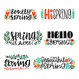 Handgetekende voorjaar label collectie ontwerp