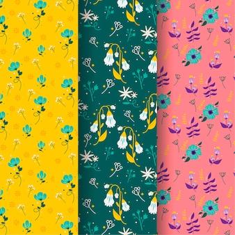 Handgetekende voorjaar patroon collectie concept