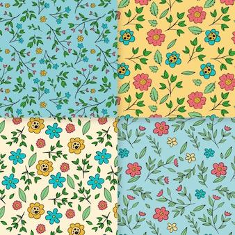 Handgetekende voorjaar patroon collectie thema