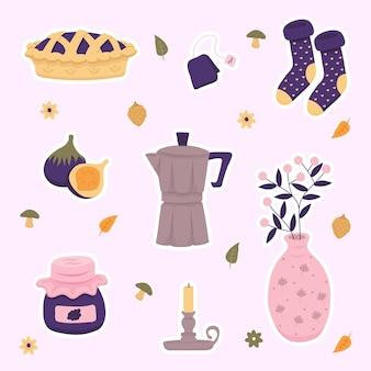 Handgetekende voorwerpen en kledinghygge-stickers