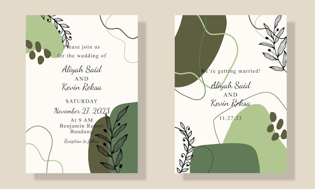 Handgetekende vorm uitnodigingskaart met blad