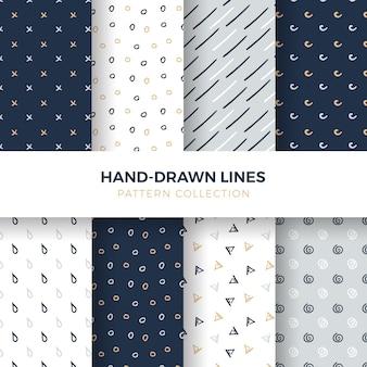 Handgetekende vormen en lijnen naadloze patroon collectie