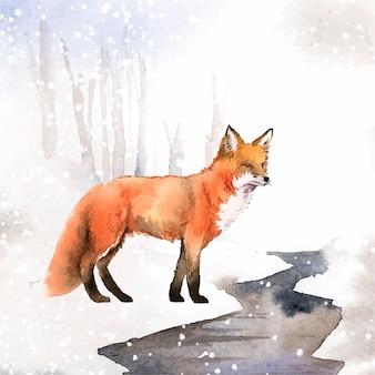 Handgetekende vos in de sneeuw aquarel stijl