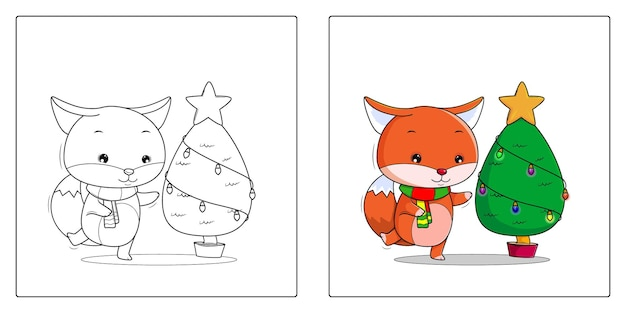 Handgetekende vos met kerstboom kleurplaten premium vector