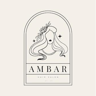 Handgetekende vrouw logo sjabloon