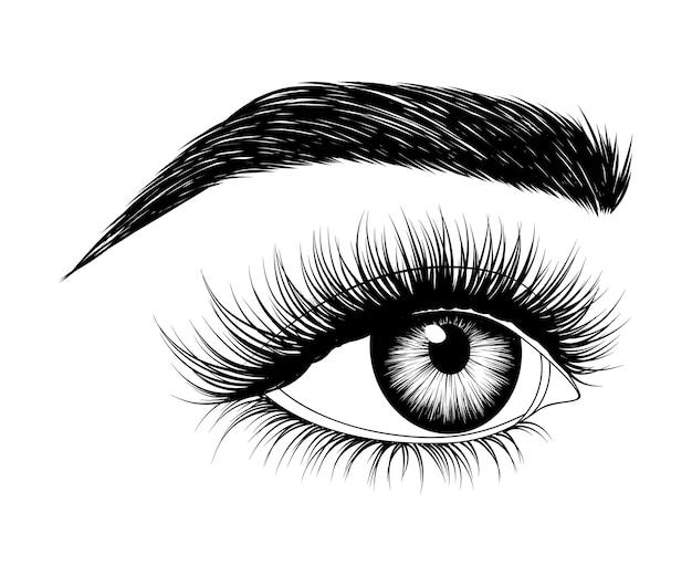 Handgetekende vrouw oog