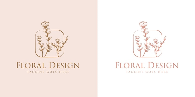 Handgetekende vrouwelijke schoonheid en bloemen botanisch logokader voor huid- en haarverzorging van de spa-salon