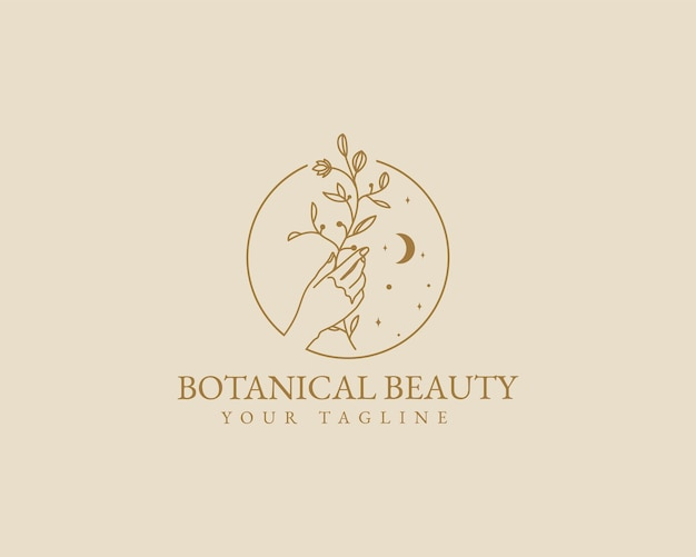 Handgetekende vrouwelijke schoonheid minimale bloemen botanische han logo spa salon huid haarverzorging merk
