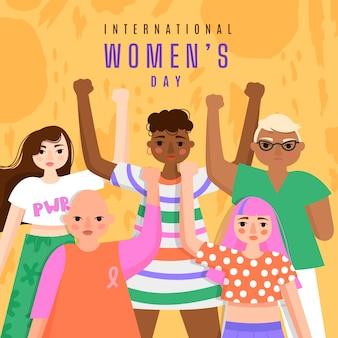 Handgetekende vrouwendag concept