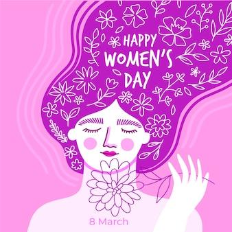 Handgetekende vrouwendag ontwerp