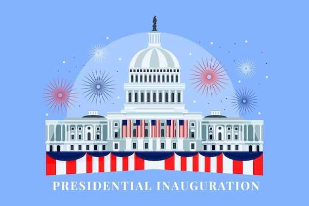 Handgetekende vs presidentiële inauguratie illustratie met wit huis en vuurwerk
