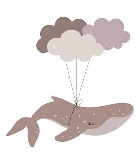 Handgetekende walvis met wolken voor kinderkamerdecoratie