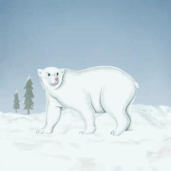 Handgetekende wandelende witte ijsbeer