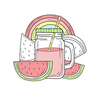 Handgetekende watermeloenlimonade in een glazen pot. vector