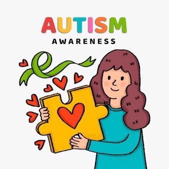 Handgetekende wereld autisme awareness day illustratie