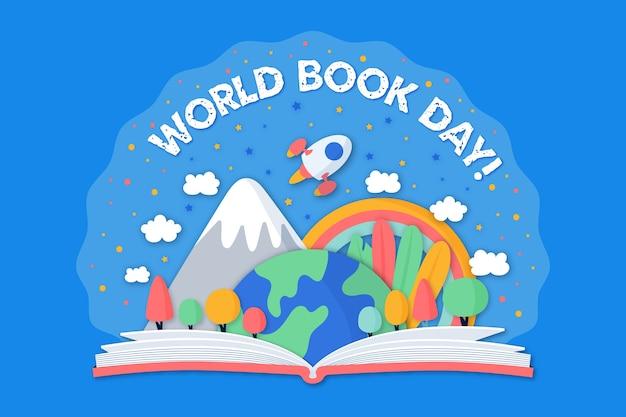Handgetekende wereld boekdag