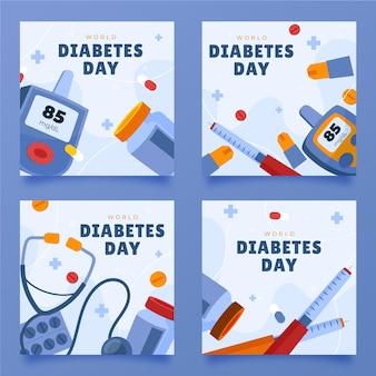 Handgetekende wereld diabetes dag instagram posts collectie