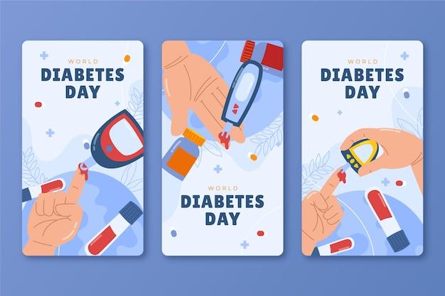 Handgetekende wereld diabetes dag instagram verhalencollectie