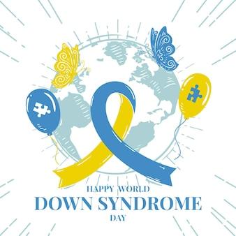Handgetekende wereld down syndroom dag illustratie met planeet en lint