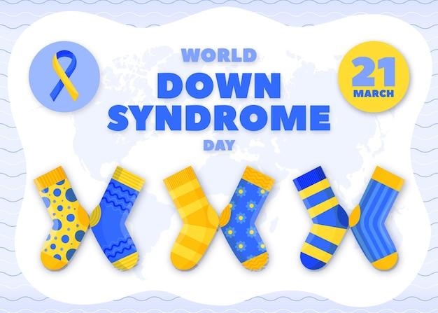 Handgetekende wereld down syndroom dag illustratie met sokken