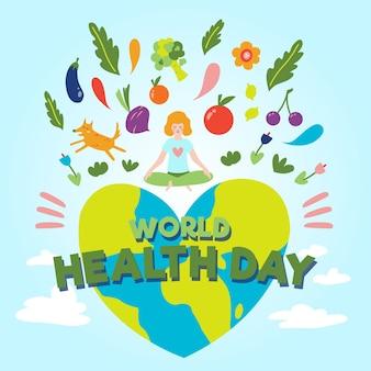 Handgetekende wereld gezondheid dag concept