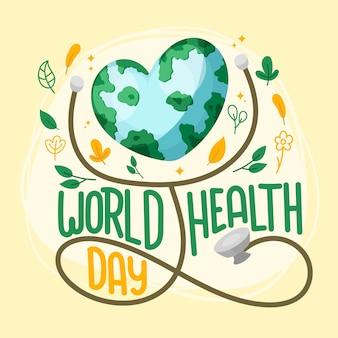 Handgetekende wereld gezondheid dag thema