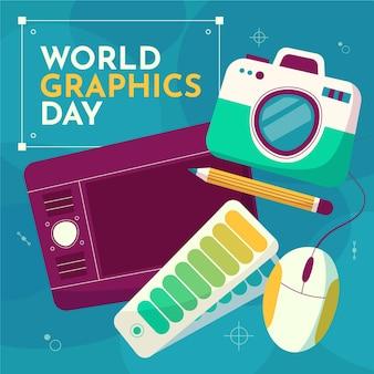 Handgetekende wereld grafische dag illustratie met camera en grafisch tablet