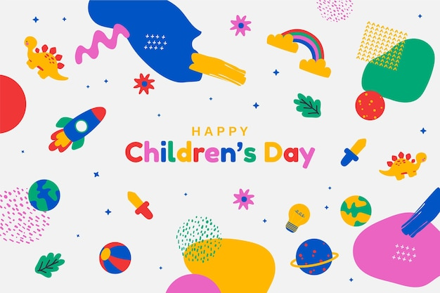 Handgetekende wereld kinderdag achtergrond Gratis Vector