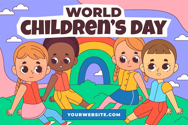 Handgetekende wereld kinderdag achtergrond