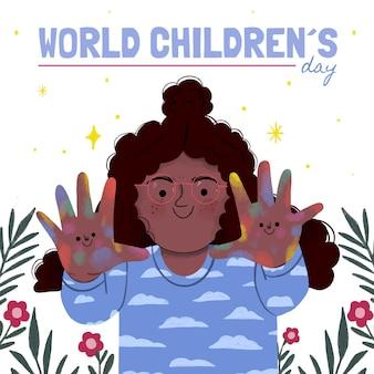 Handgetekende wereld kinderdag illustratie