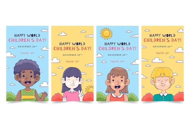 Handgetekende wereld kinderdag instagram verhalencollectie