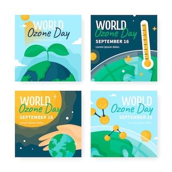 Handgetekende wereld ozon dag instagram posts collectie