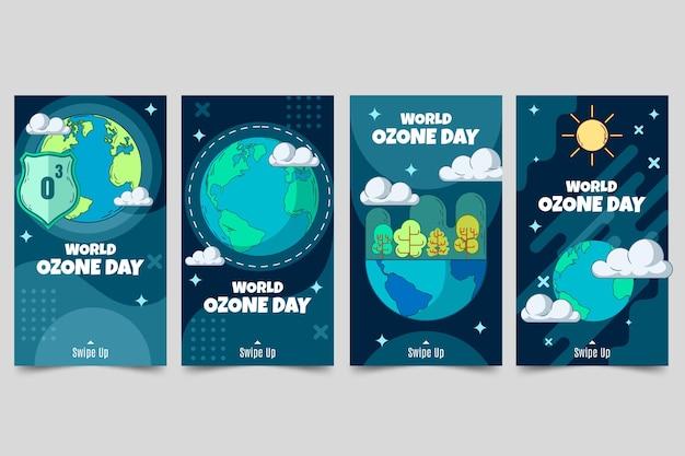 Handgetekende wereld ozon dag instagram verhalen collectie