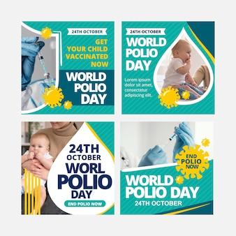 Handgetekende wereld polio dag instagram posts collectie