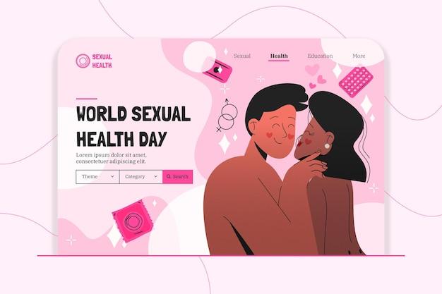 Handgetekende wereld seksuele gezondheid dag bestemmingspagina sjabloon
