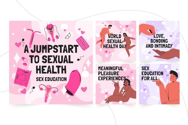 Handgetekende wereld seksuele gezondheid dag instagram posts collectie