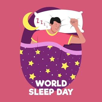 Handgetekende wereld slaap dag illustratie met man rusten