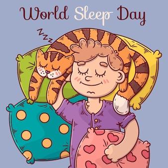 Handgetekende wereld slaap dag illustratie met vrouw en kat