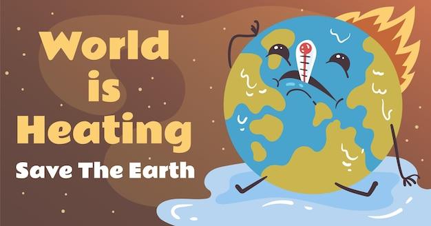 Handgetekende wereld verwarmt facebookpost