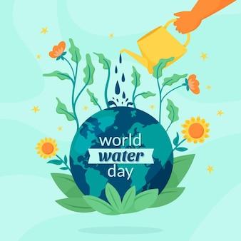 Handgetekende wereld water dag illustratie met hand drenken planeet en bloemen